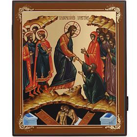 Icona Discesa agli Inferi dipinta a mano Russia 22x27 cm s1