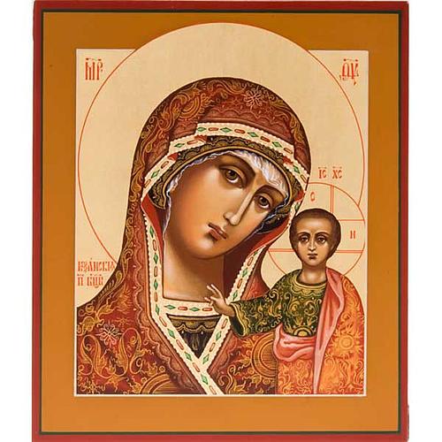 Icona ortodossa Madonna di Kazan dipinta Russia 1