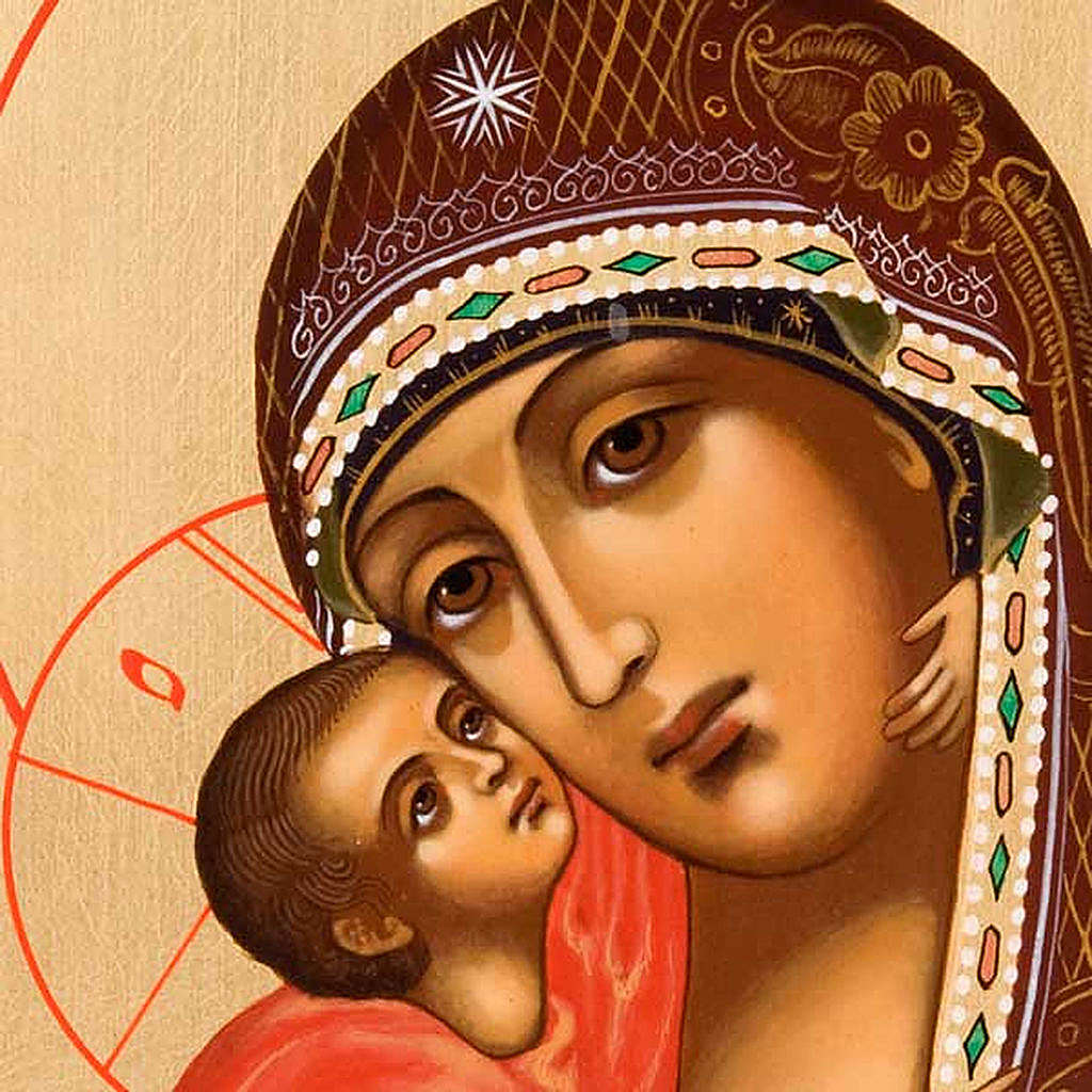 Icona Vergine di Vladimir Russia dipinta 4