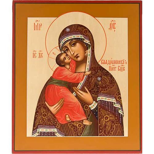 Icona Vergine di Vladimir Russia dipinta 1