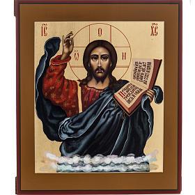Icona russa dipinta Pantocratore benedicente s1
