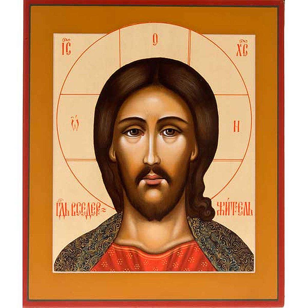 Icona russa dipinta Pantocratore volto 4