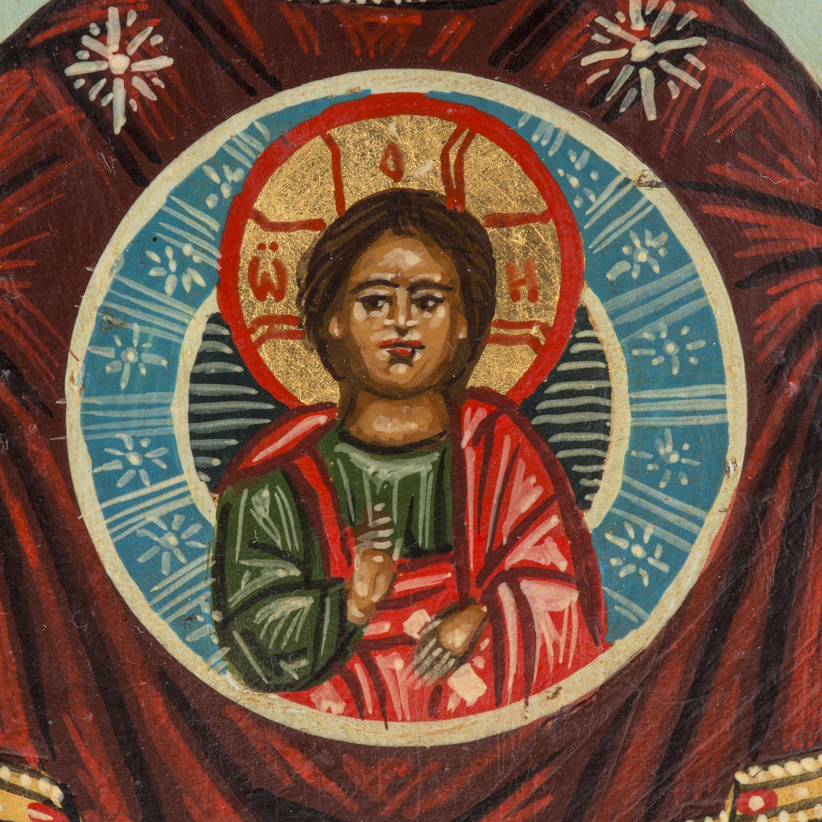 Icona russa dipinta Madonna del Segno 18x12 cm 4