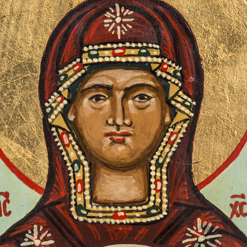 Icona russa dipinta Madonna del Segno 18x12 cm 2