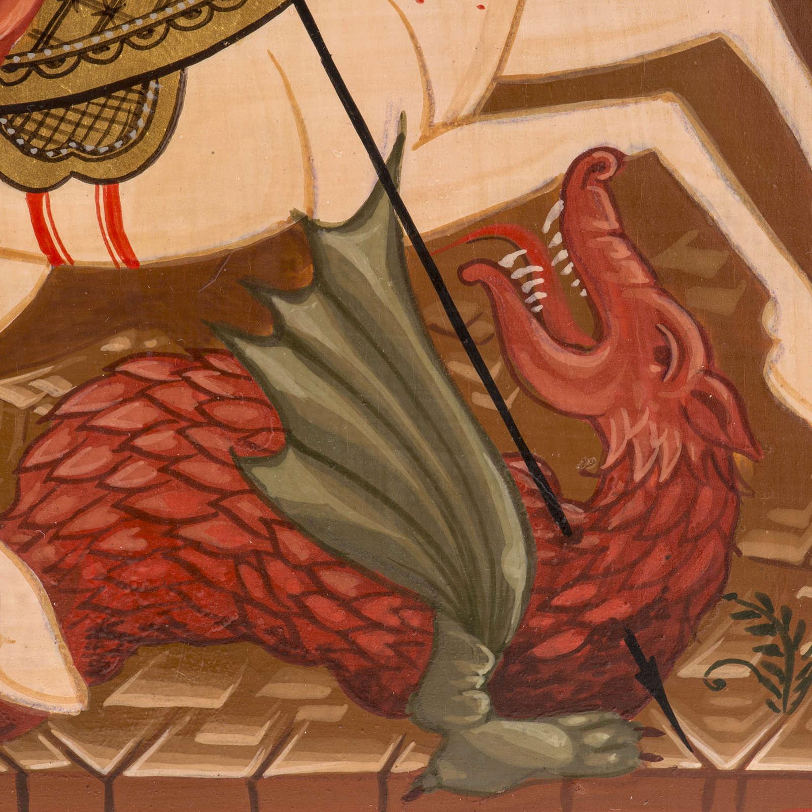 Icona Russa San Giorgio dipinta 30x25 cm 4