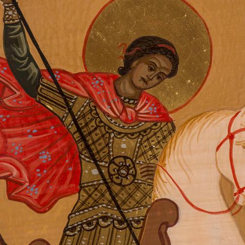 Icona Russa San Giorgio dipinta 30x25 cm 2