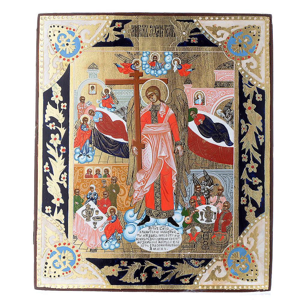 Icona russa Angelo Custode dipinta su tavola antica 4
