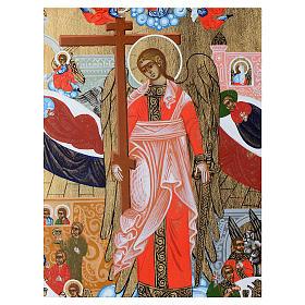 Icona russa Angelo Custode dipinta su tavola antica s2