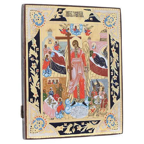 Icona russa Angelo Custode dipinta su tavola antica 3