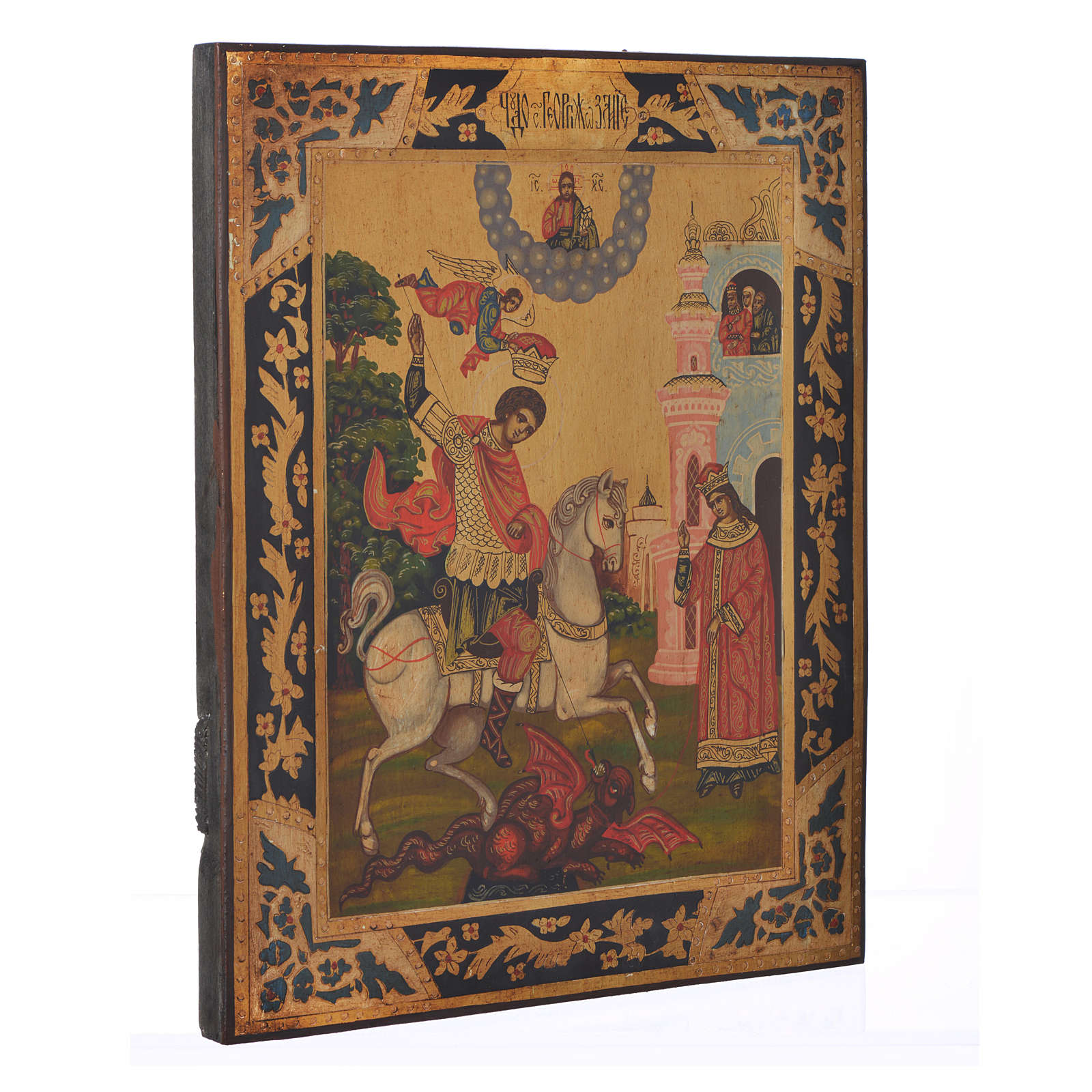 Icona russa San Giorgio dipinta su tavola antica 4