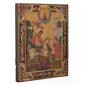 Icona russa San Giorgio dipinta su tavola antica s2