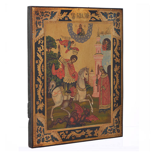 Icona russa San Giorgio dipinta su tavola antica 2