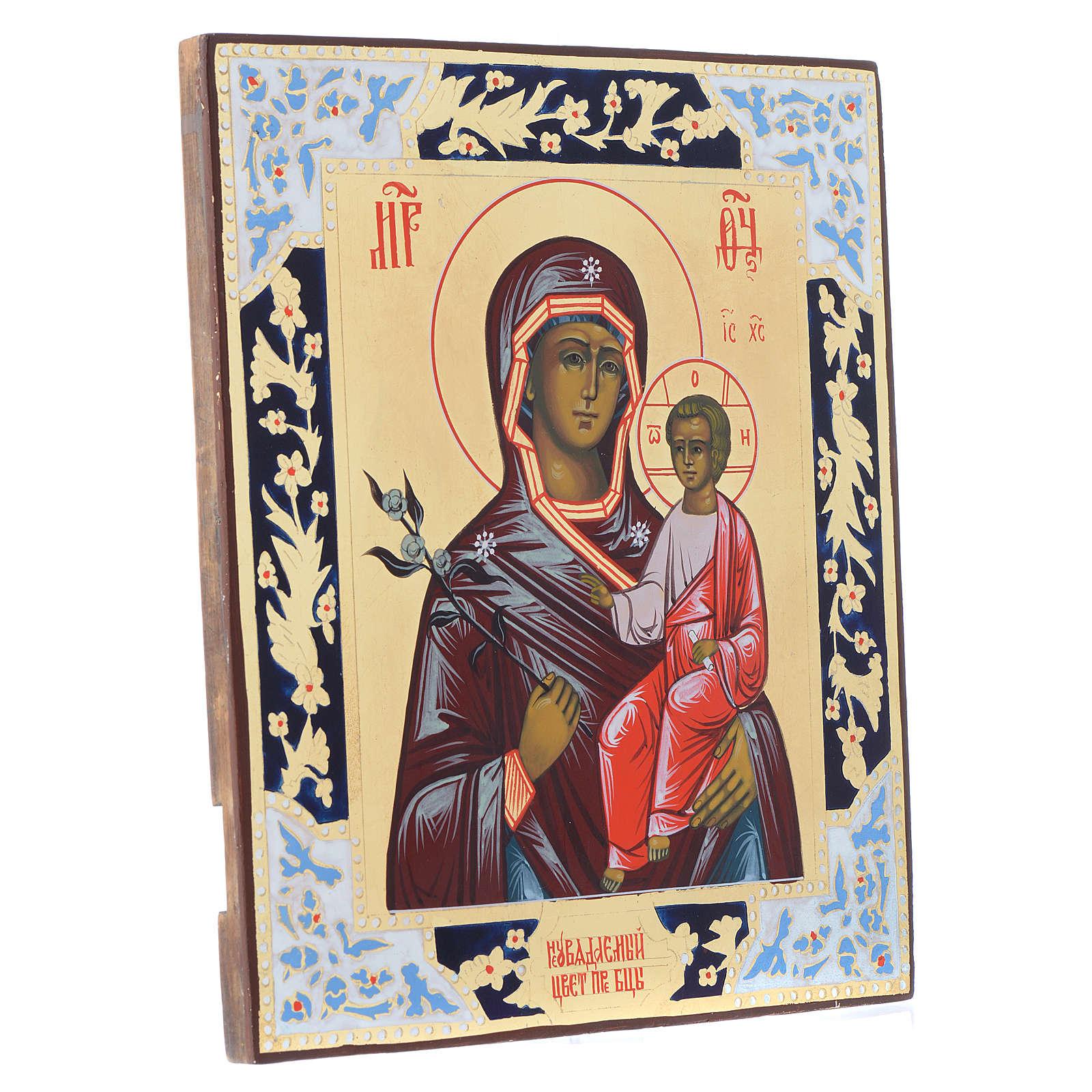 Russische Ikone, Muttergottes, Blume die niemals verwelkt, auf alten Bildträger 4