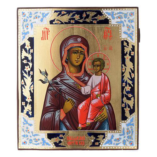 Russische Ikone, Muttergottes, Blume die niemals verwelkt, auf alten Bildträger 1