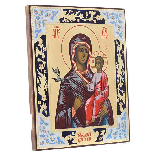 Russische Ikone, Muttergottes, Blume die niemals verwelkt, auf alten Bildträger 3