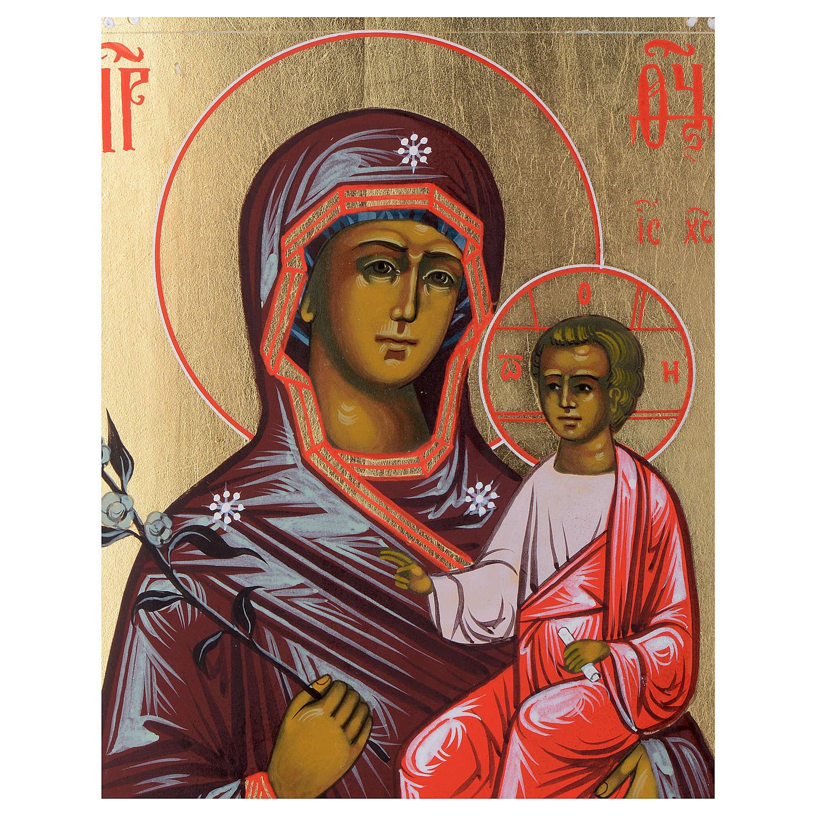 Ícone Mãe de Deus Flor Imarcescível sobre madeira antiga 4