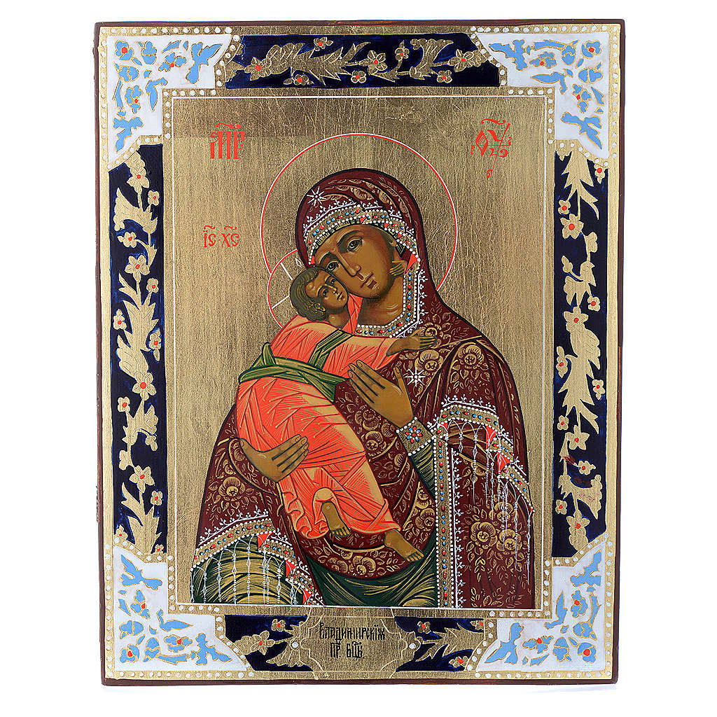 Icona Madonna di Vladimir su tavola antica 4