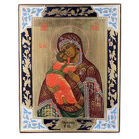 Icona Madonna di Vladimir su tavola antica s1