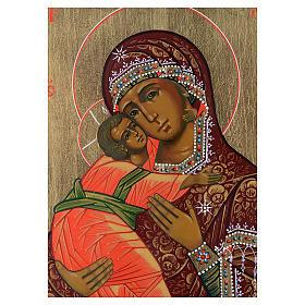 Icona Madonna di Vladimir su tavola antica s2