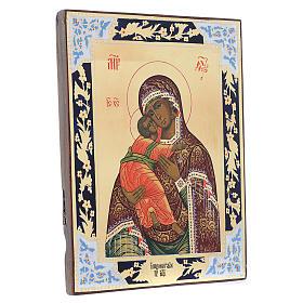 Icona Madonna di Vladimir su tavola antica s3