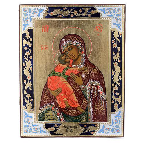 Icona Madonna di Vladimir su tavola antica 1