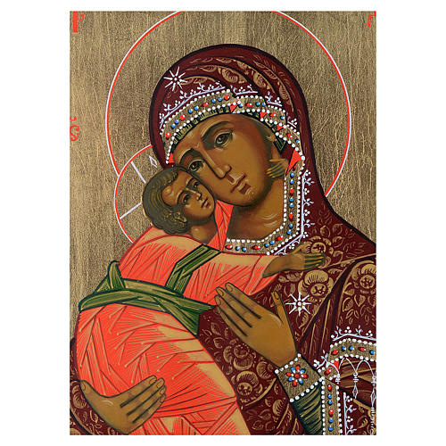 Icona Madonna di Vladimir su tavola antica 2