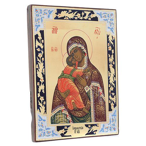 Icona Madonna di Vladimir su tavola antica 3
