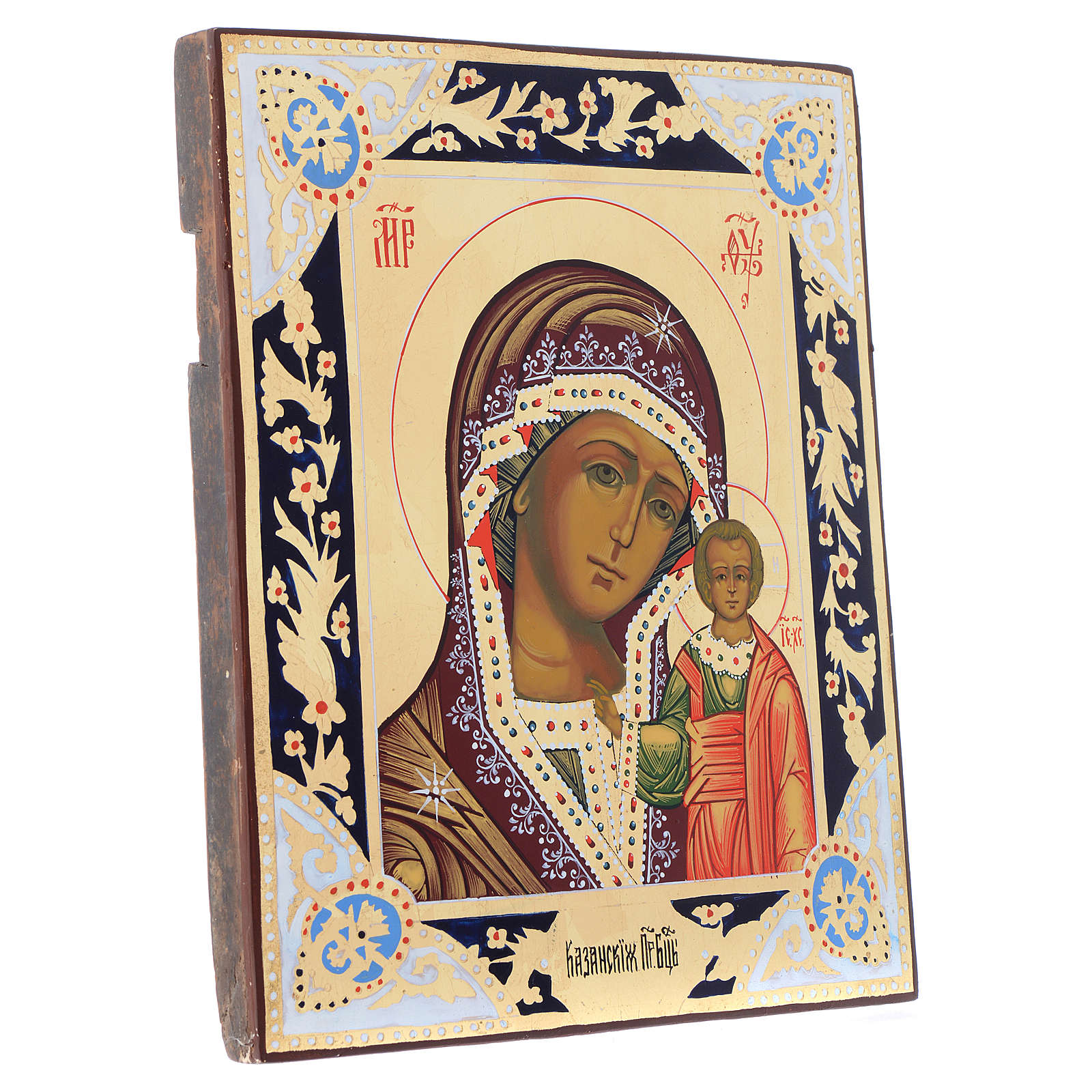 Icona russa Madonna Kazan su tavola XIX sec. 4
