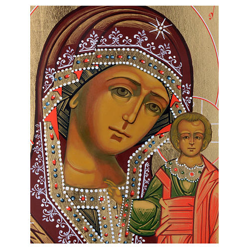 Icona russa Madonna Kazan su tavola XIX sec. 2