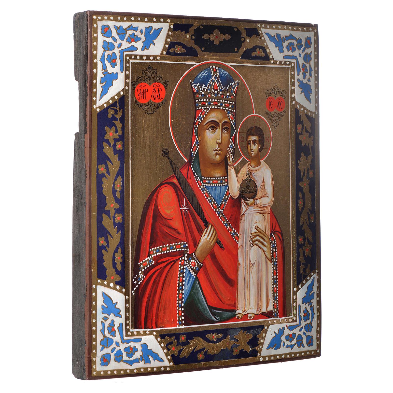 Icona Madonna Umiltà dipinta su tavola antica 4