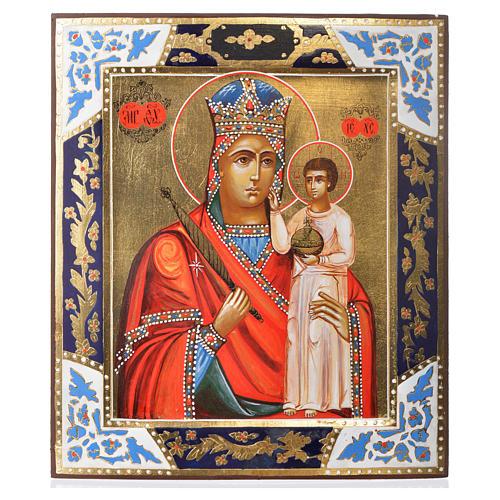 Icona Madonna Umiltà dipinta su tavola antica 1