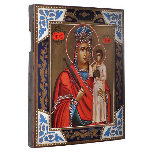 Icona Madonna Umiltà dipinta su tavola antica 2
