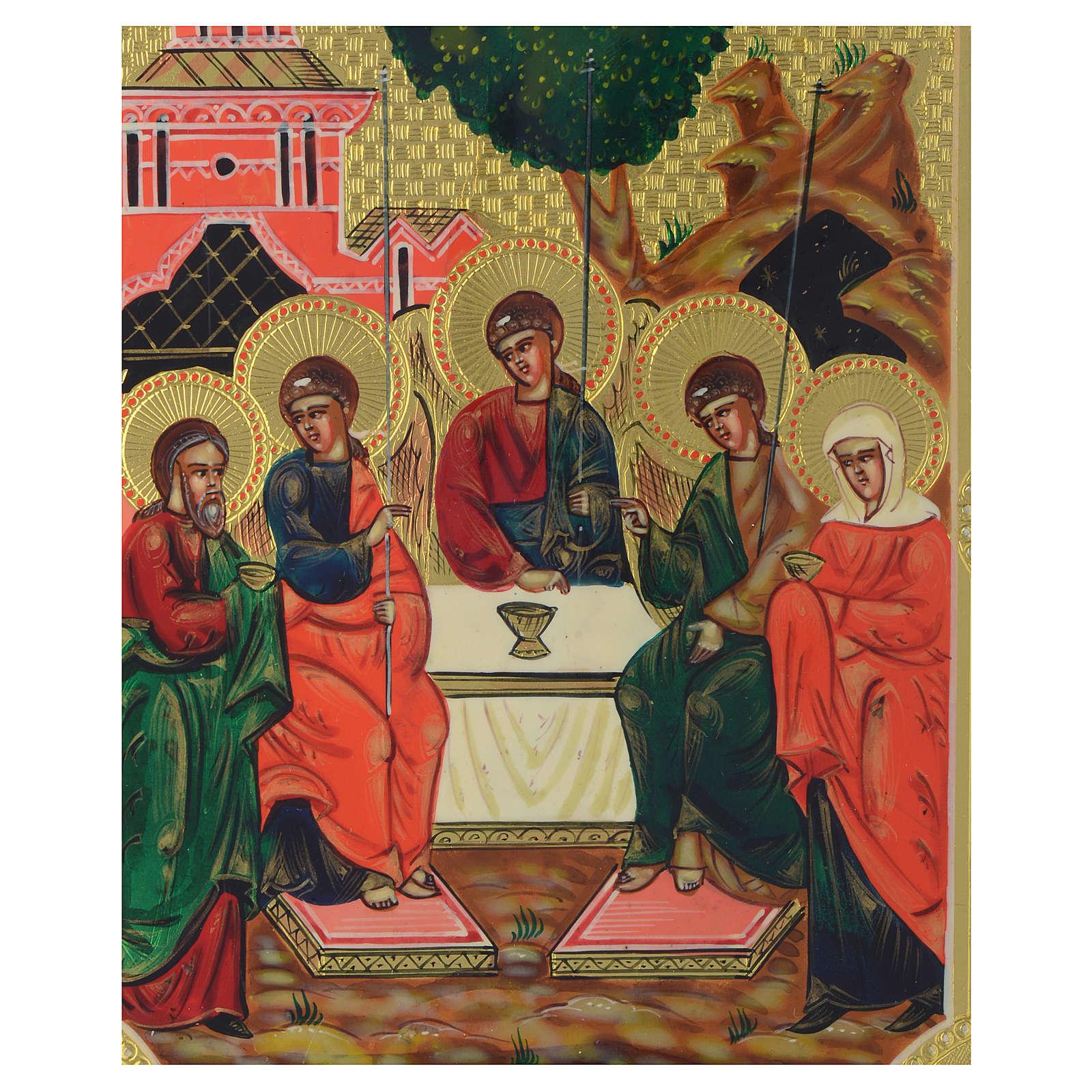 Icona Santa Trinità antica Restaurata 24x18 cm 4