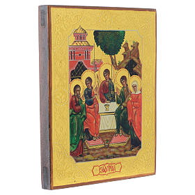 Icona Santa Trinità antica Restaurata 24x18 cm s2