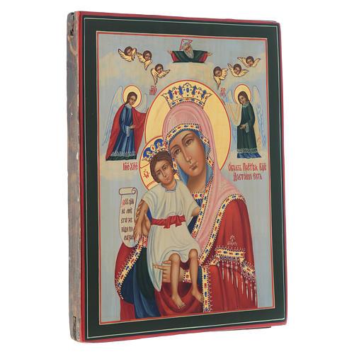 Icona Madonna Veramente Degna su tavola antica 3