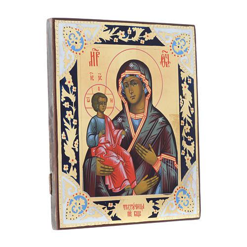 Icona Madonna con tre mani su tavola antica 3