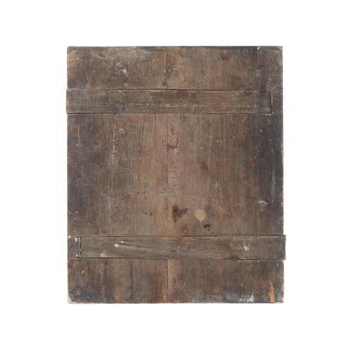 Icona Madonna con tre mani su tavola antica 4