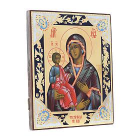 Ícone Mãe de Deus das Três Mãos sobre madeira antiga s3