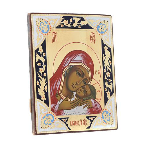 Icona Madonna Tenerezza Korsun su tavola antica 3