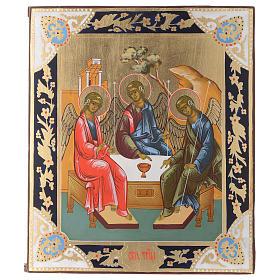 Icona SS. Trinità dipinta tavola antica Russa s1