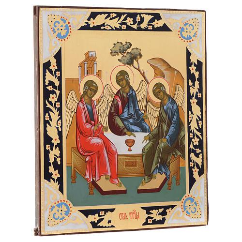 Icona SS. Trinità dipinta tavola antica Russa 2