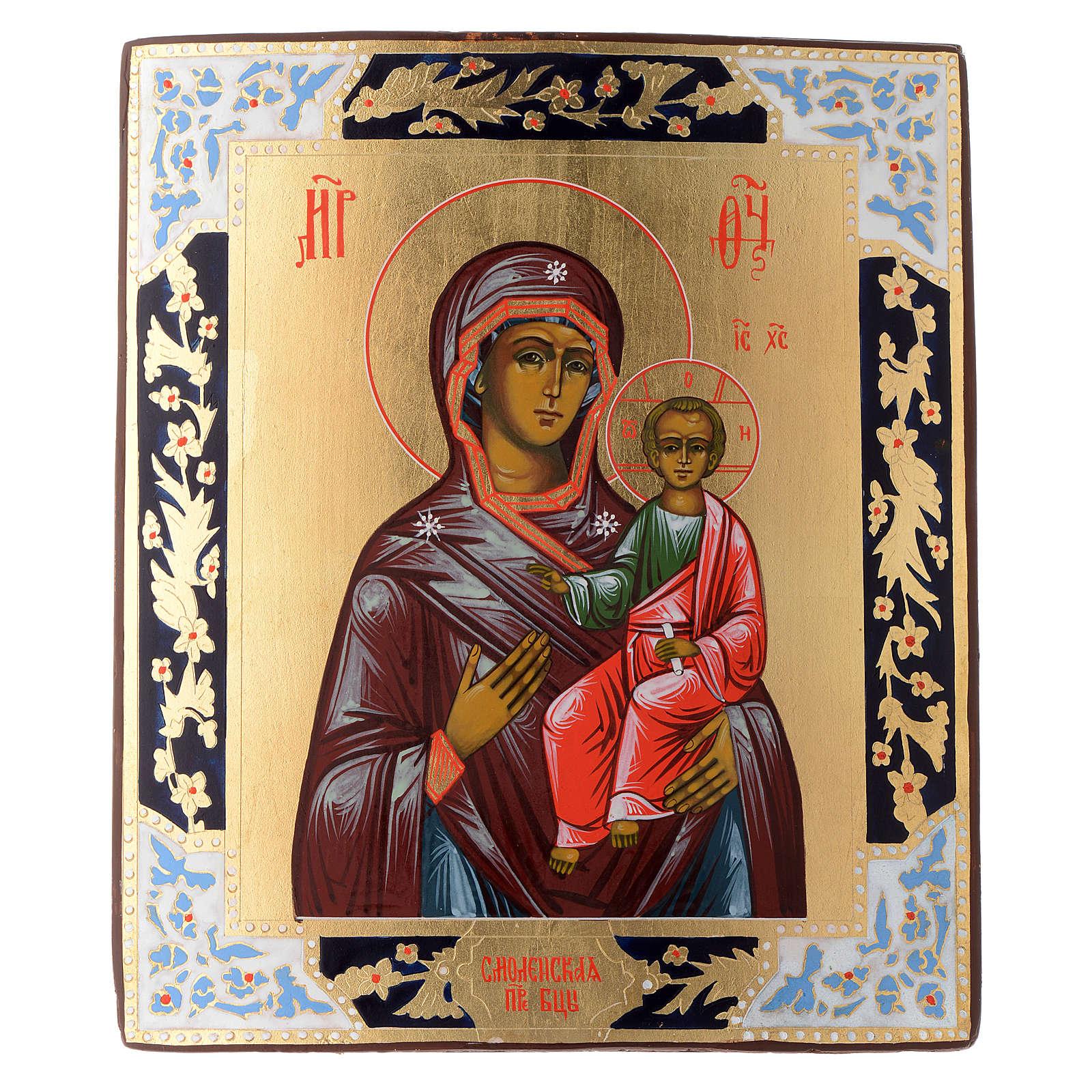 Icona Madonna Smolensk dipinta tavola antica Russia 4