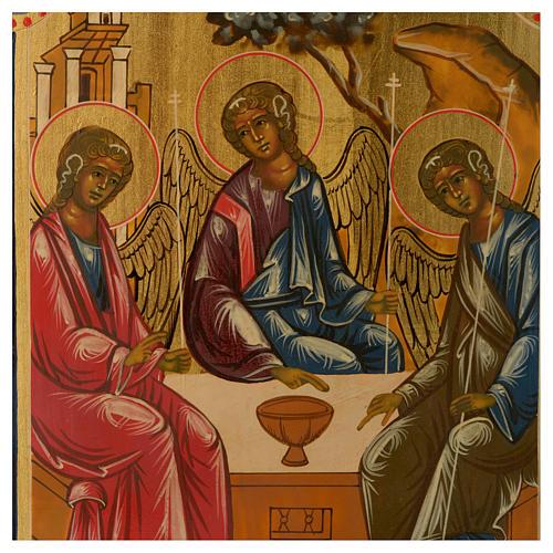 Icona antica russa Trinità di Rublev 30x25 cm ridipinta epoca zarista 2