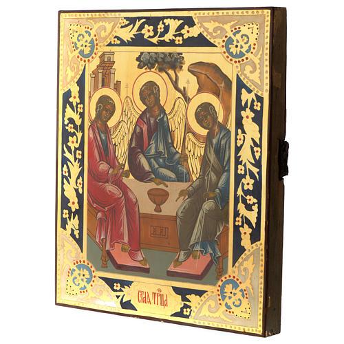Icona antica russa Trinità di Rublev 30x25 cm ridipinta epoca zarista 3