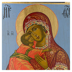 Icona russa Madonna di Vladimir epoca zarista 30x25 cm ridipinta s2