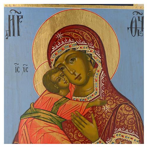 Icona russa Madonna di Vladimir epoca zarista 30x25 cm ridipinta 2
