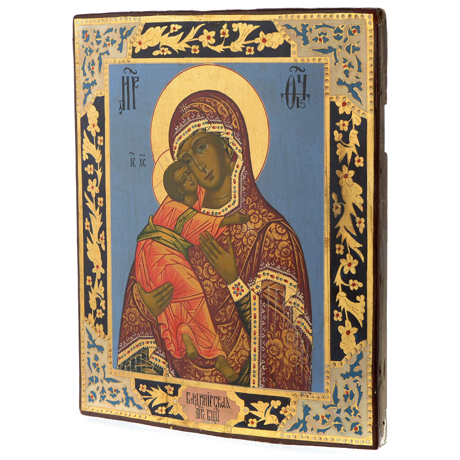 Ícone Russo Nossa Senhora de Vladimir Época Czarista 32,2x28 cm re-pintado 4