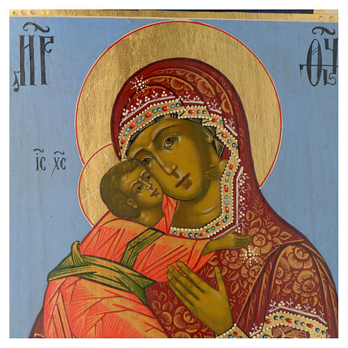 Ícone Russo Nossa Senhora de Vladimir Época Czarista 32,2x28 cm re-pintado 2