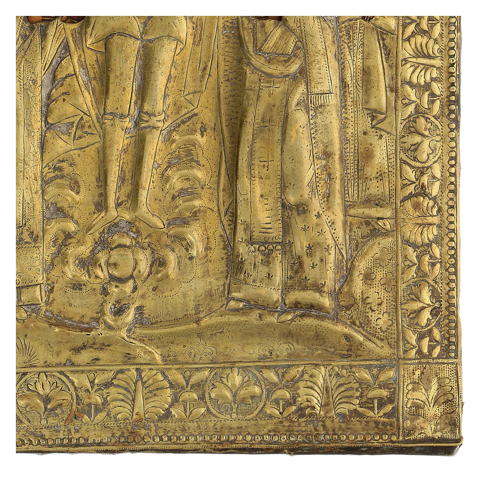 Icône russe planche ancienne Temple de l'Archange Michel XIX siècle 40x30 cm restaurée 4