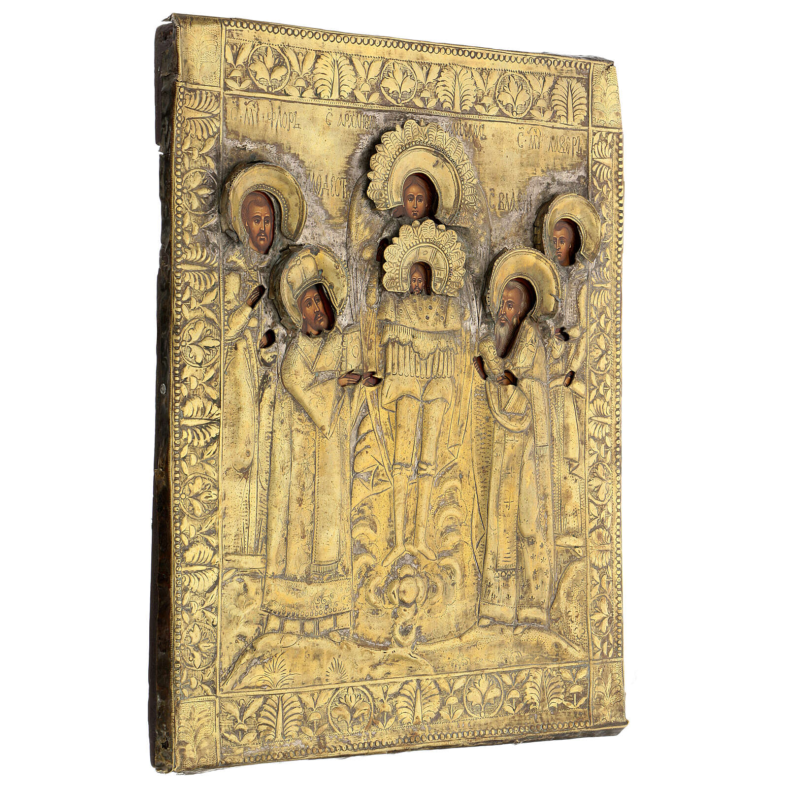 Icona russa tavola antica Tempio dell'Arcangelo Michele XIX sec 40x30 cm Restaurata 4